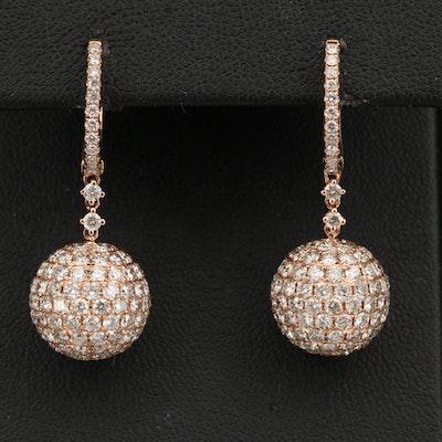14K Rose Gold 6.81 CTW Pavé Diamond Dangle Earrings