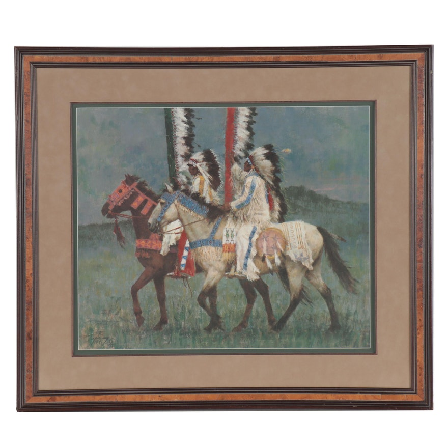 """Howard Terpning Offset Lithograph """"Prairie Knights,"""" Late 20th Century"""