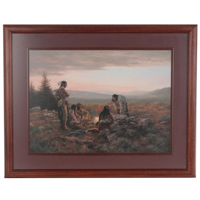 "Howard Terpning Offset Lithograph ""To Capture Enemy Horses,"" Late 20th Century"