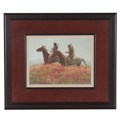 """Howard Terpning Offset Lithograph """"Shoshonis,"""" Late 20th Century"""