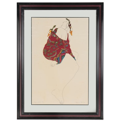 "Weyman Lew Color Lithograph ""Taking a Gander,"" 1978"