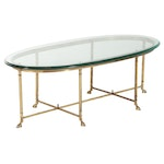 Cast Brass Hoof-Footed and Glass Top Oval Coffee Table, Mid to Late 20th Century