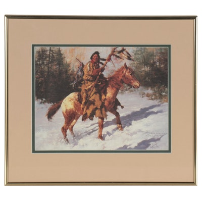 "Howard Terpning Offset Lithograph ""Winter Coat,"" 1987"