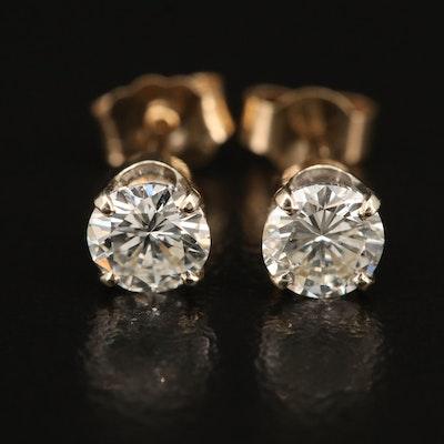 14K 0.94 CTW Diamond Solitaire Stud Earrings