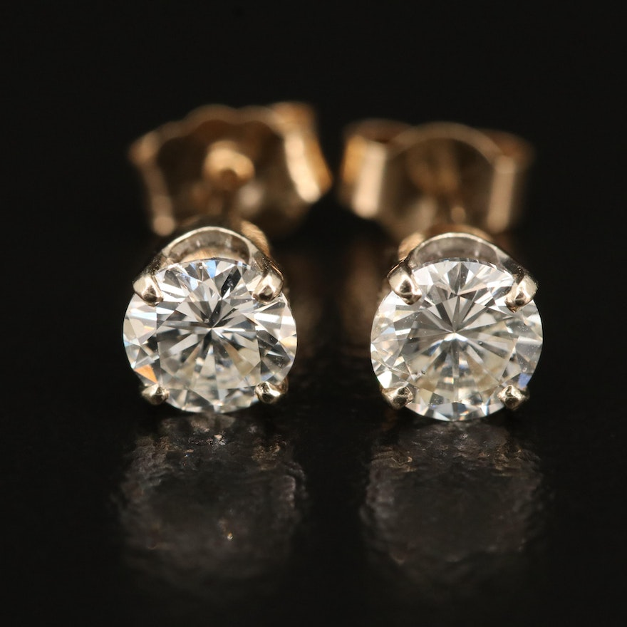 14K 0.94 CTW Diamond Solitaire Stud Earrings