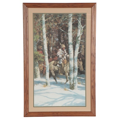 "Howard Terpning Offset Lithograph ""Blackfeet Among Aspen,"" Late 20th Century"