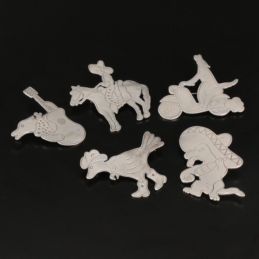 Western Style Don Lucas Sterling Brooches