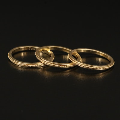 18K Wire Embellished Three Band Set
