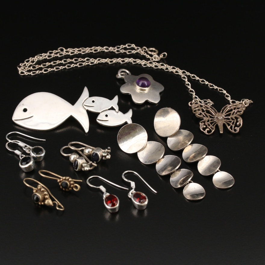 Sterling Earrings, Necklace, Pendant and Brooch with Amethyst and Gemstones