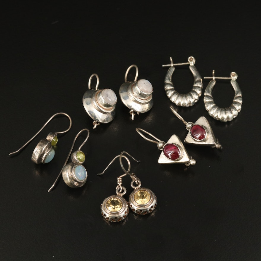 Sterling Earrings Including Citrine and Rainbow Moonstone