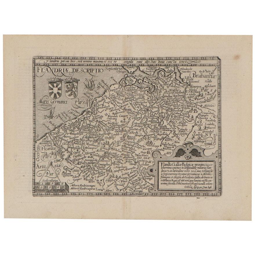 Matthias Quad Engraved Map of Belgium, 1596