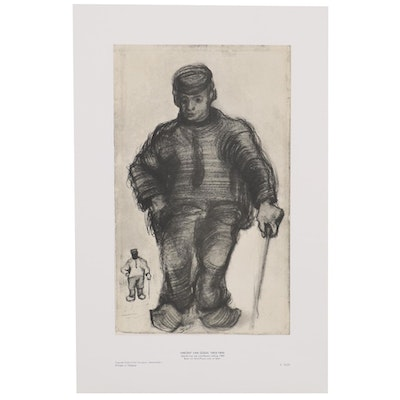 """Offset Lithograph after Vincent van Gogh """"Peasant Walking,"""" Late 20th Century"""