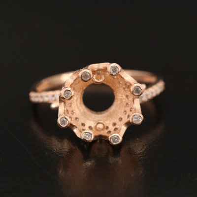 14K Crown Semi-Mount Diamond Ring