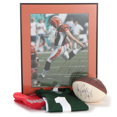 NFL Kickers Mike Nugent, Doug Pelfrey, and Shayne Graham Signed Items