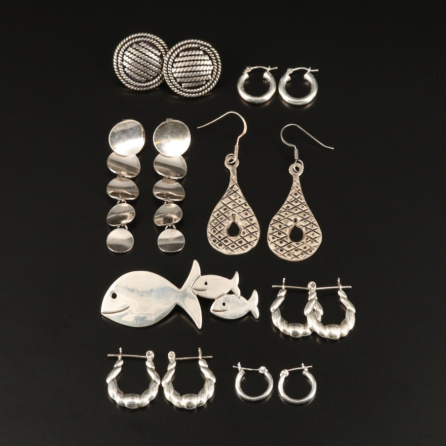Sterling Silver Earrings and Mexican Fish Brooch