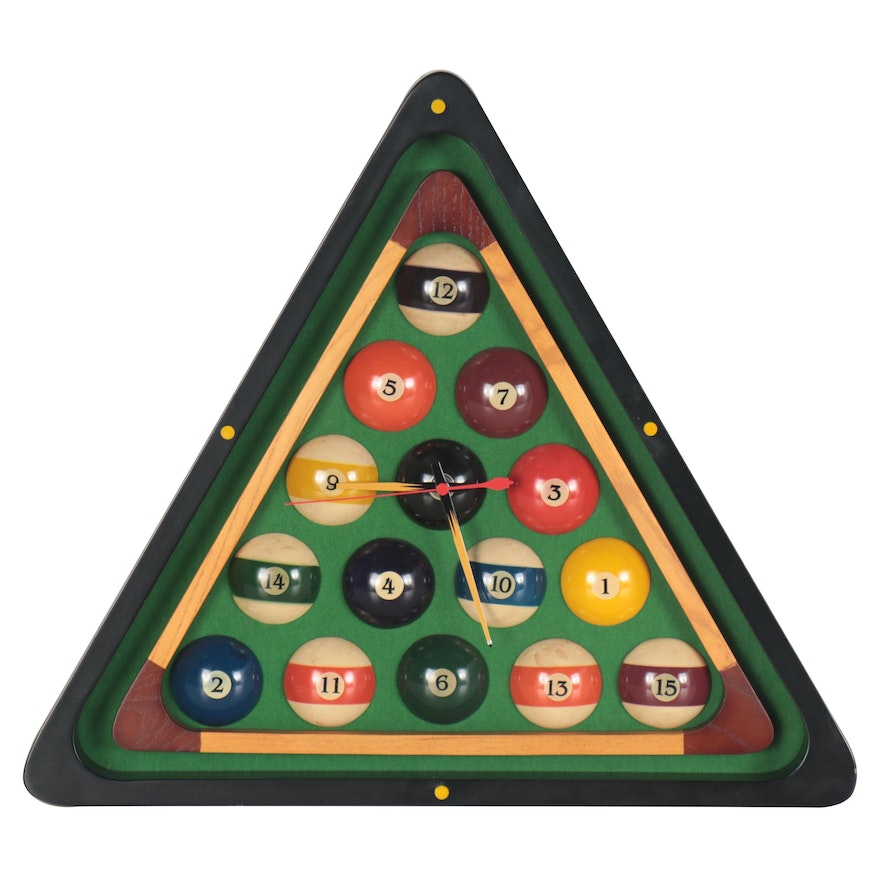 Billiards Triangle Wall Clock, circa 2000