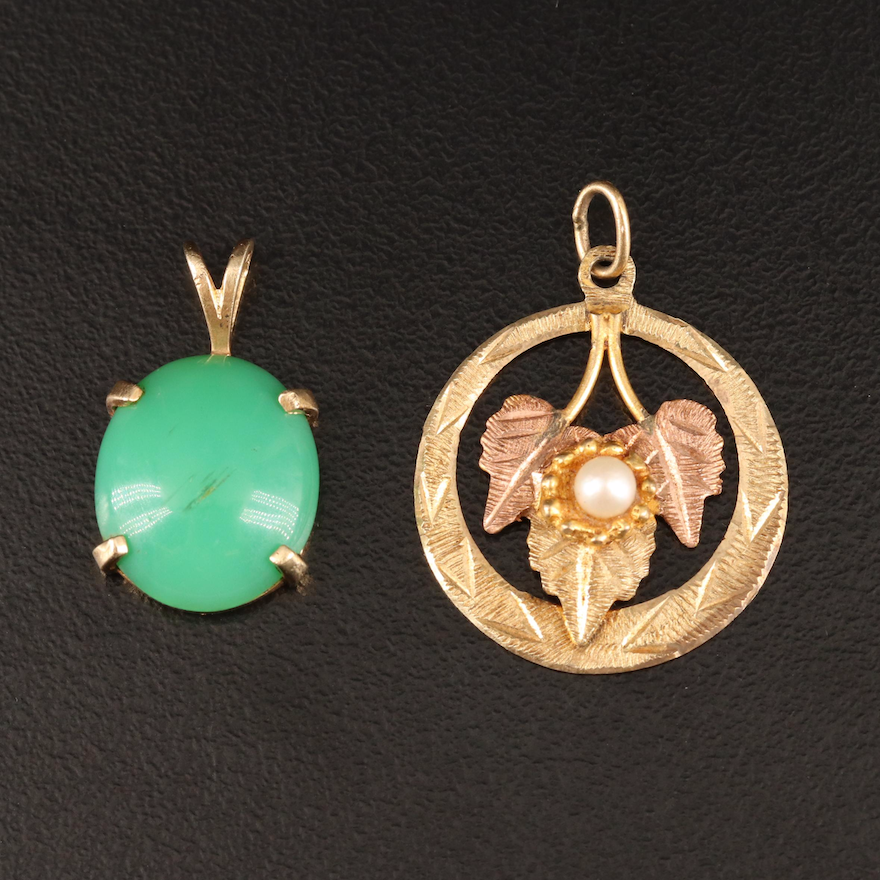 14K, 12K and 10K Pearl and Chrysoprase Pendants Including Black Hills Gold