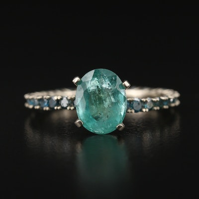 14K 1.64 CT Emerald and Diamond Eternity Ring