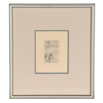"""Pierre-Auguste Renoir Restrike Etching """"Sur la plage, à Berneval"""""""