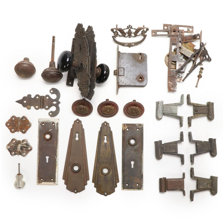 Door Knobs, Door Plates, Escutcheons, More Hardware, Mid/Late 19th, Early 20th C