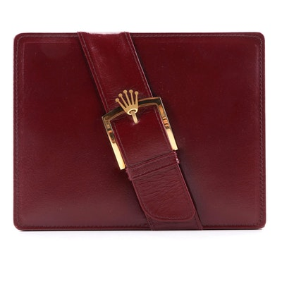 Rolex Burgundy Leather and Walnut Presentation Watch Case