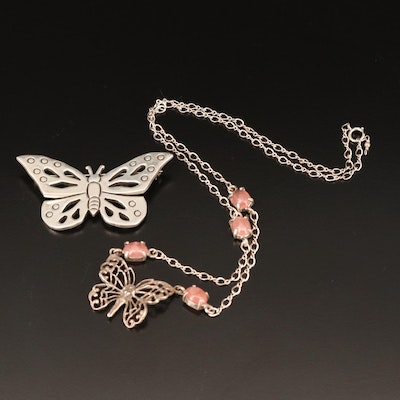 Sterling Butterfly Brooch and Rhodochrosite Fairy Necklace