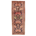 3'11 x 10'2 Hand-Knotted Northwest Persian Pictorial Long Rug, 1940s