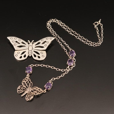Sterling Butterfly Brooch and Amethyst Fairy Necklace