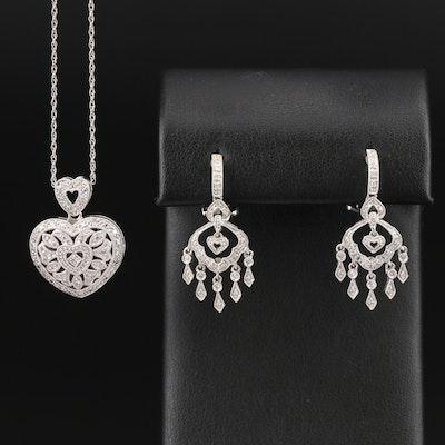 14K Diamond Openwork Heart Locket Pendant Necklace and Chandelier Earrings