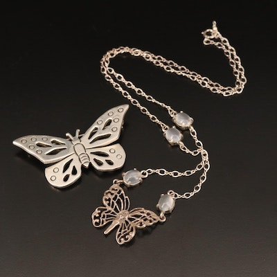 Sterling Butterfly Brooch and Moonstone Necklace