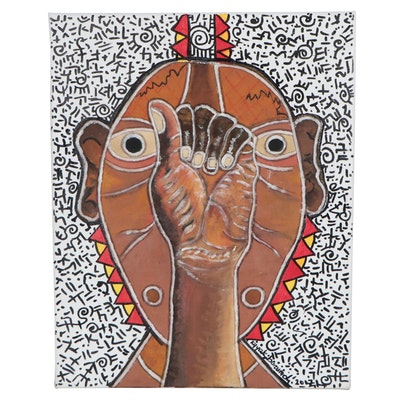 """Kayode Buraimoh Mixed Media Painting """"Speak Your Silence"""""""