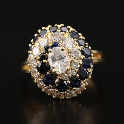 14K 1.97 CTW Diamond and Sapphire Swirl Ring