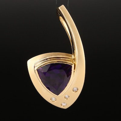 Contemporary 18K 7.50 CT Amethyst and Diamond Pendant with Matte Finish