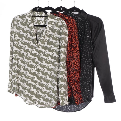 Equipment Black and Printed Silk Blouses