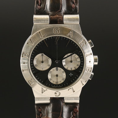 "BVLGARI ""Diagono"" Stainless Steel Chronograph Meca-Quartz Wristwatch"