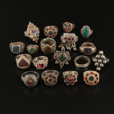 Sterling and 800 Silver Scrap Rings with Glass, Resin and Beryl