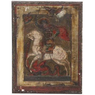 Russian Icon Tempera Painting of St. George Slaying the Dragon