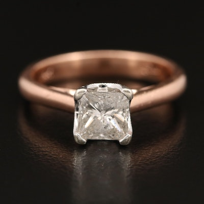 14K 1.15 CTW Diamond Ring with Rose Gold Shank