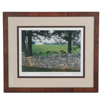 "James Archambeault Offset Lithograph ""Thoroughbreds and Stone Fence"""