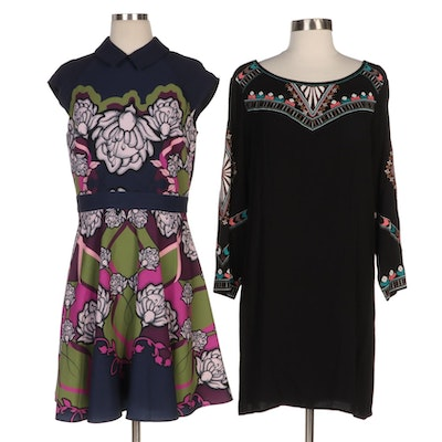 Ted Baker Surreal Tapestry Skater Dress with Ella Moss Embroidered Dress