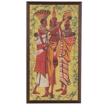 African Batik Textile of Women with Children, Late 20th Century
