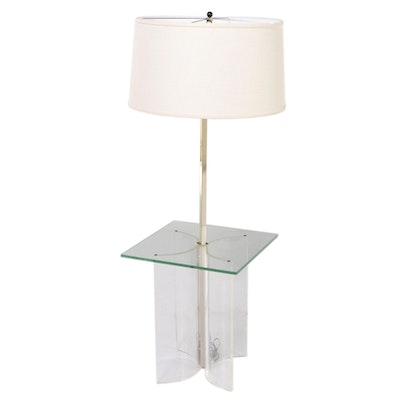Mid Century Modern Glass and Acrylic Floor Table Lamp