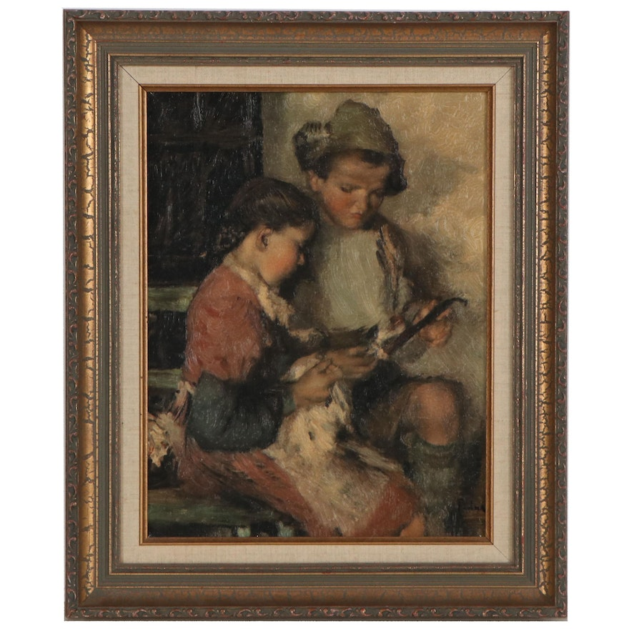 """Embellished Offset Lithograph after Paul Mathias Padua """"Brother and Sister"""""""