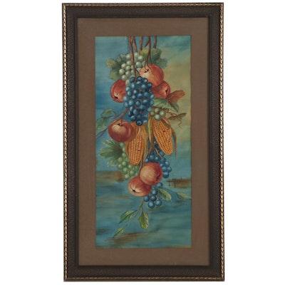 Bertha Howard Watercolor Painting of Hanging Fruits, Mid-20th Century