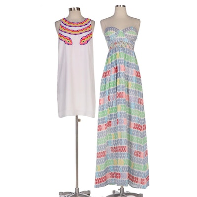 Mara Hoffman Beaded Sleeveless Shift Dress and Lei Strapless Maxi Dress