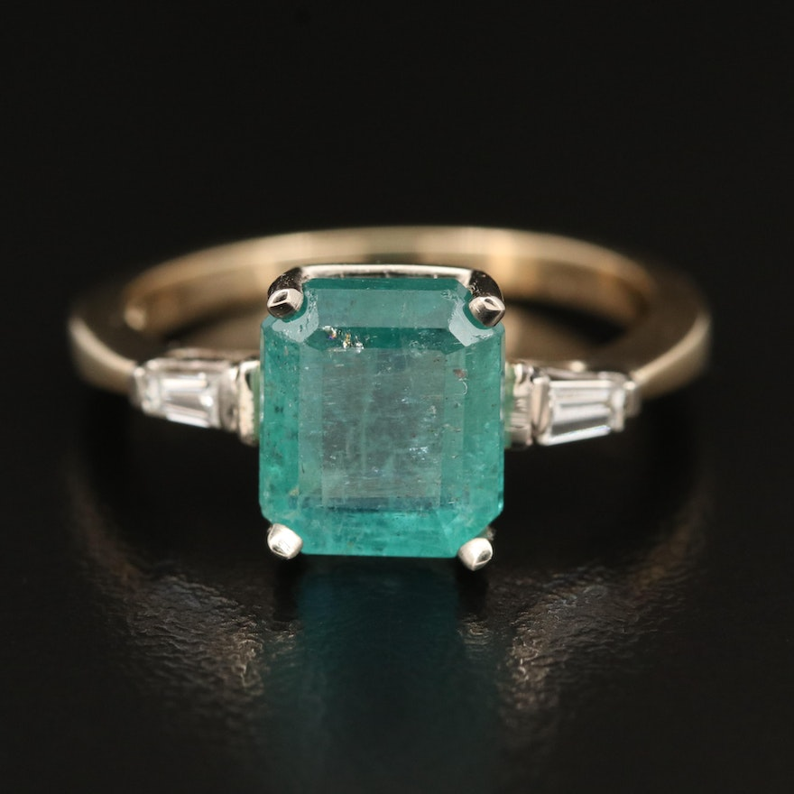 14K 3.81 CT Emerald and Diamond Ring with GIA Report