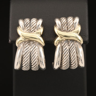 "David Yurman ""Classic Wheat"" Sterling J-Hoop Earrings with 14K Accents"