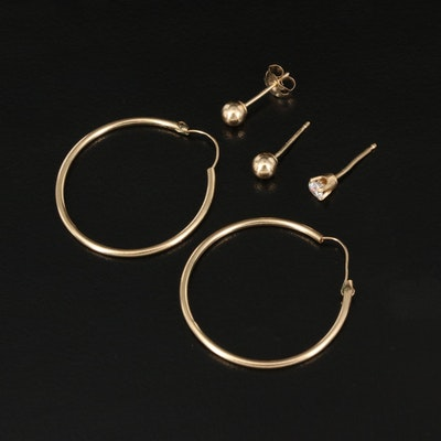 14K Hoop and Stud Earrings with Single Cubic Zirconia Earring