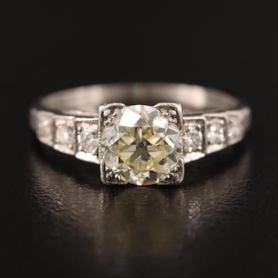 Art Deco Platinum 1.05 CTW Diamond Ring