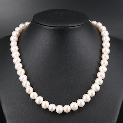 Pearl Necklace with Gold-Filled Clasp